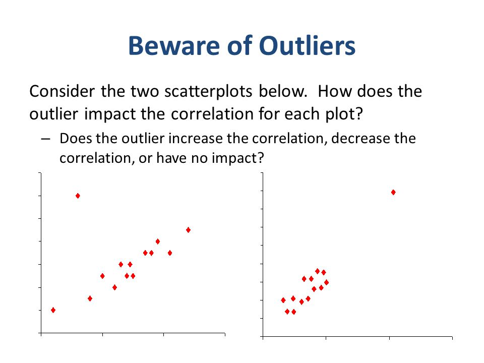 Statistical Thinking Beware of Outliers. Consider the two scatterplots below. How does the outlier impact the correlation for each plot
