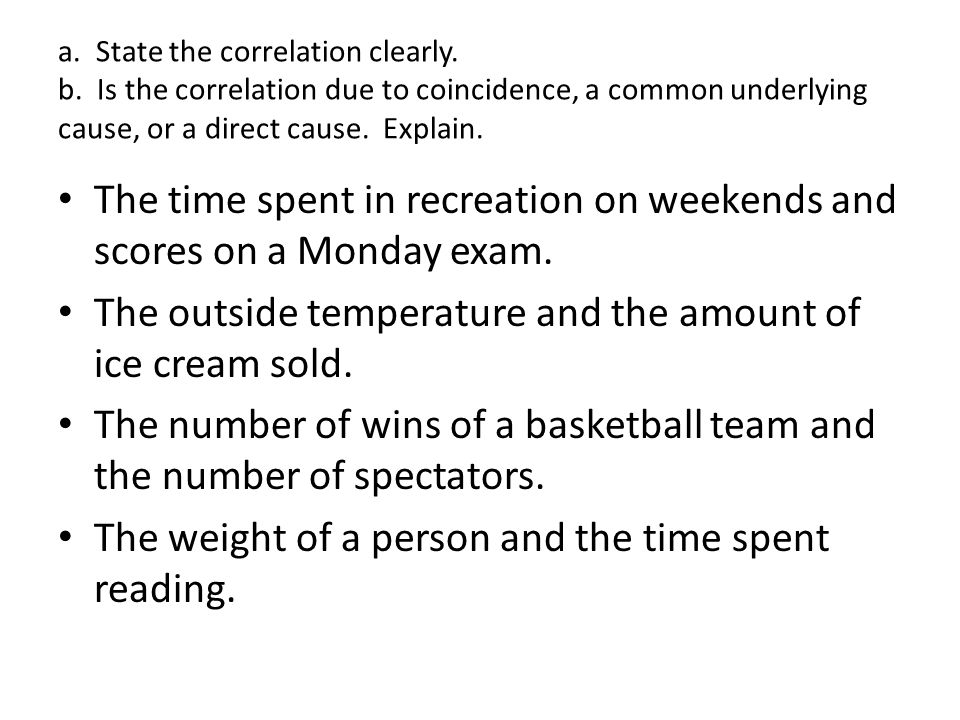 The time spent in recreation on weekends and scores on a Monday exam.