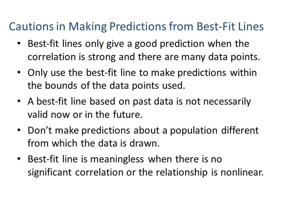 Cautions in Making Predictions from Best-Fit Lines