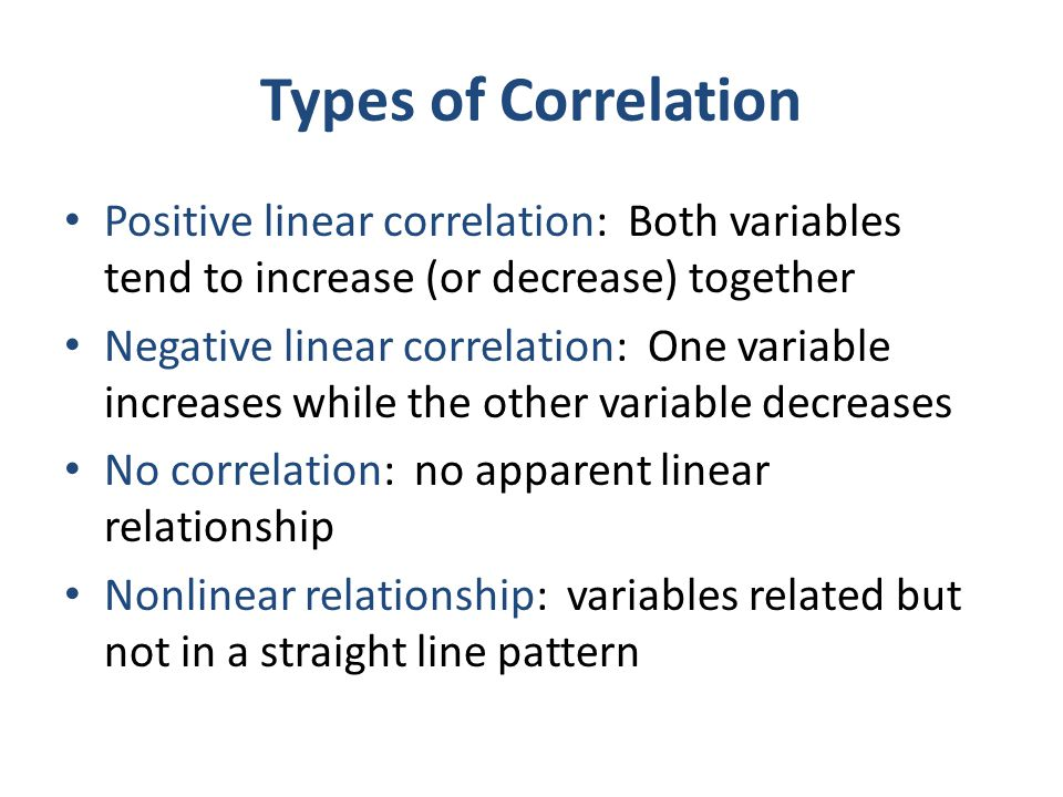 Types of Correlation Positive linear correlation: Both variables tend to increase (or decrease) together.