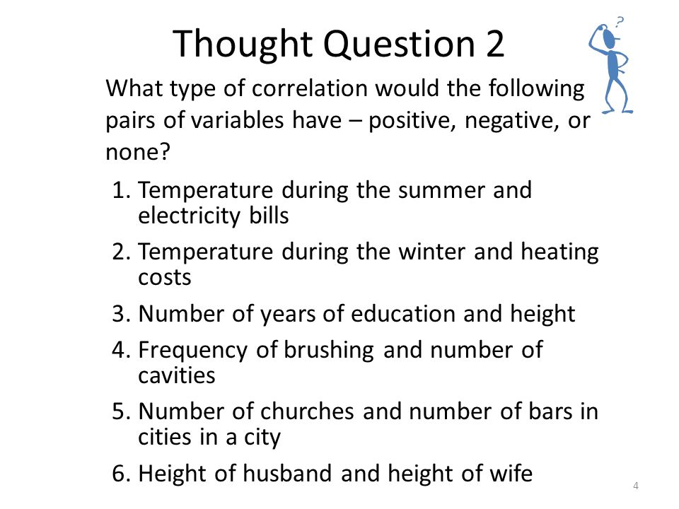 Statistical Thinking Thought Question 2. What type of correlation would the following pairs of variables have – positive, negative, or none