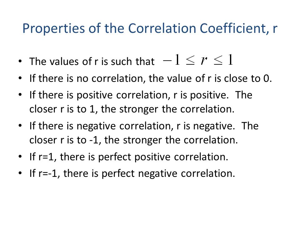 Properties of the Correlation Coefficient, r