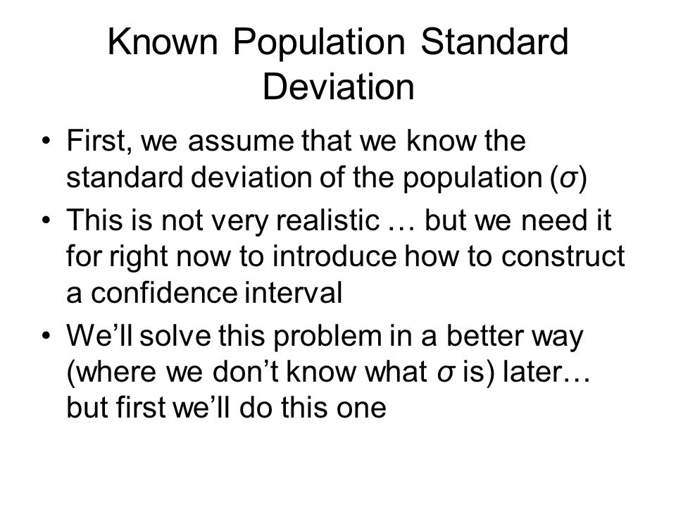 Known Population Standard Deviation