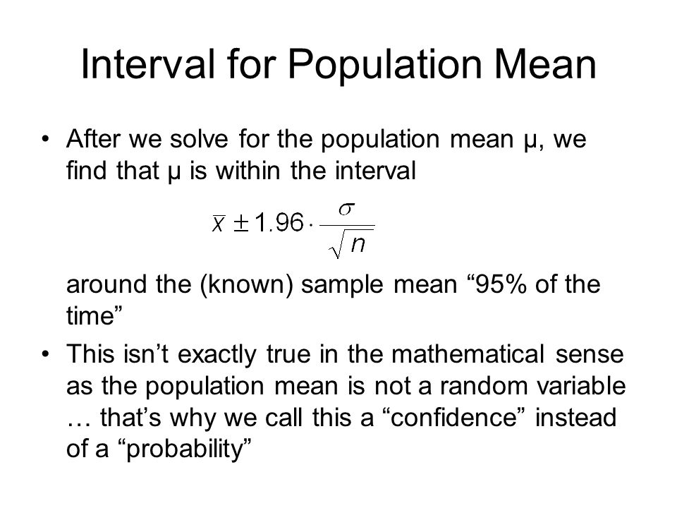 Interval for Population Mean