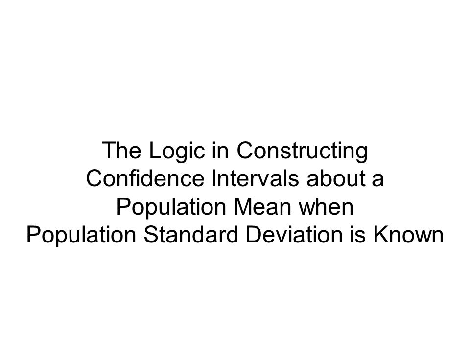 The Logic in Constructing Confidence Intervals about a Population Mean when Population Standard Deviation is Known