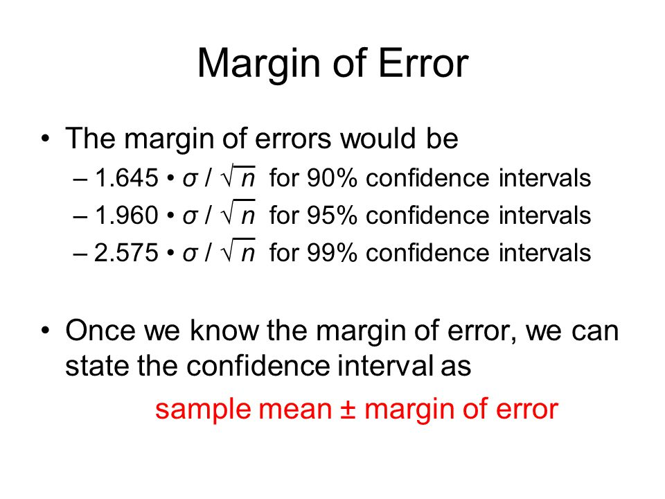 Margin of Error The margin of errors would be