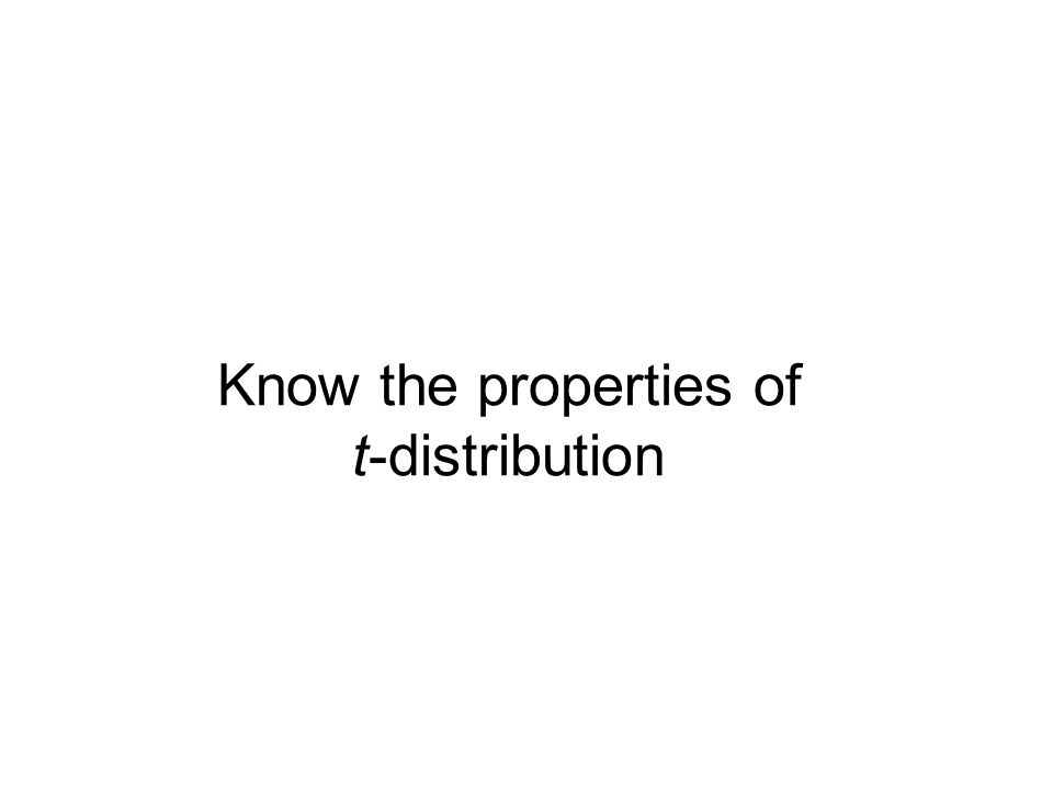 Know the properties of t-distribution
