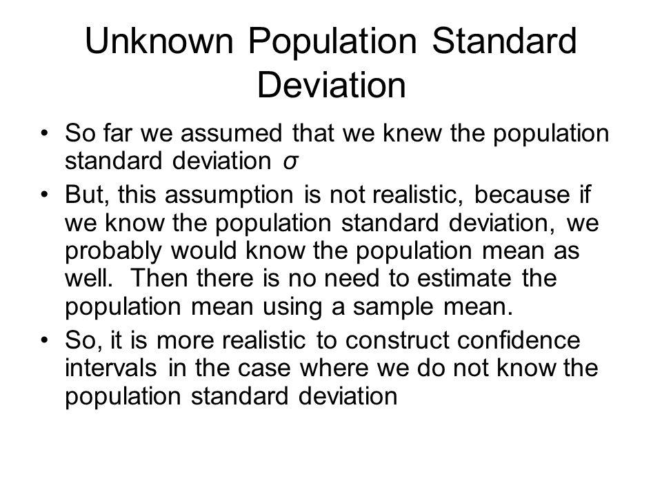Unknown Population Standard Deviation