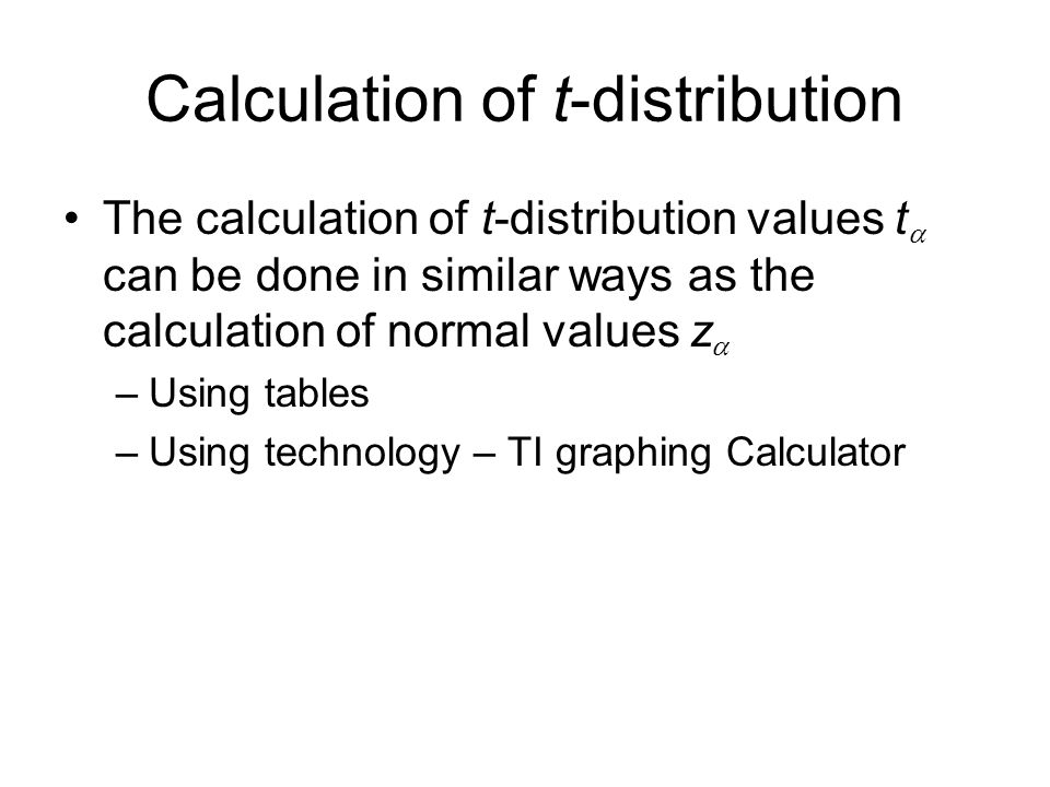 Calculation of t-distribution