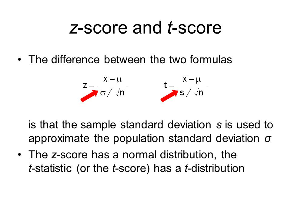z-score and t-score The difference between the two formulas