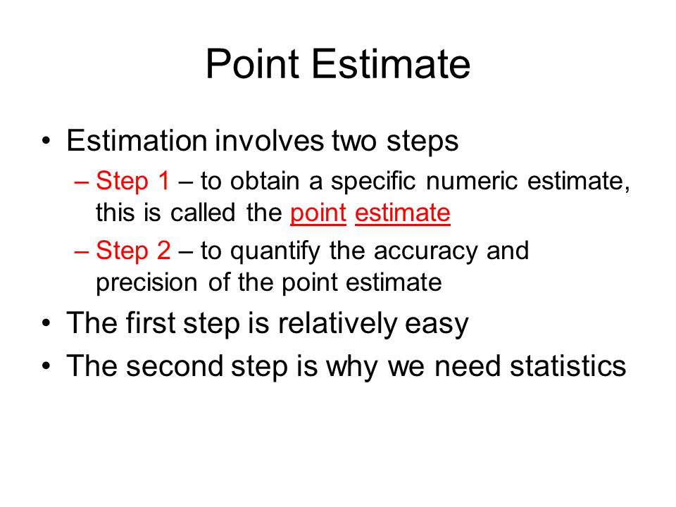 Point Estimate Estimation involves two steps
