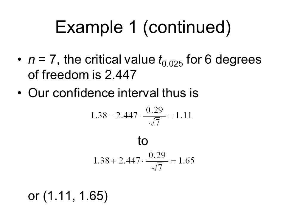 Example 1 (continued) n = 7, the critical value t0.025 for 6 degrees of freedom is 2.447. Our confidence interval thus is.