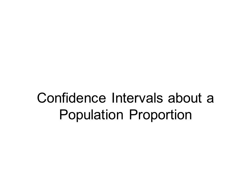 Confidence Intervals about a Population Proportion