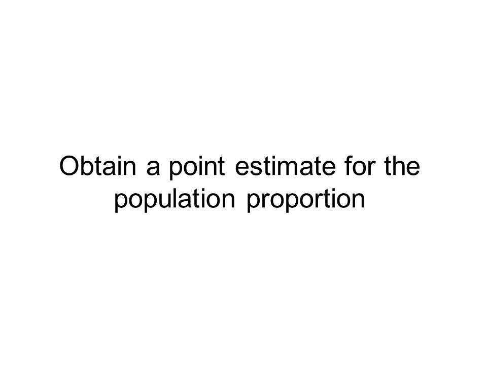 Obtain a point estimate for the population proportion