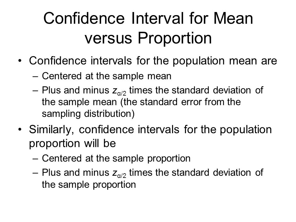 Confidence Interval for Mean versus Proportion