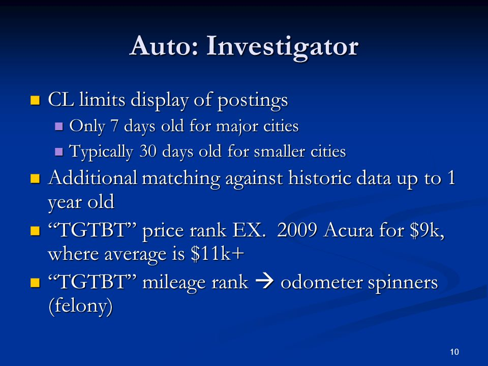 Auto: Investigator CL limits display of postings