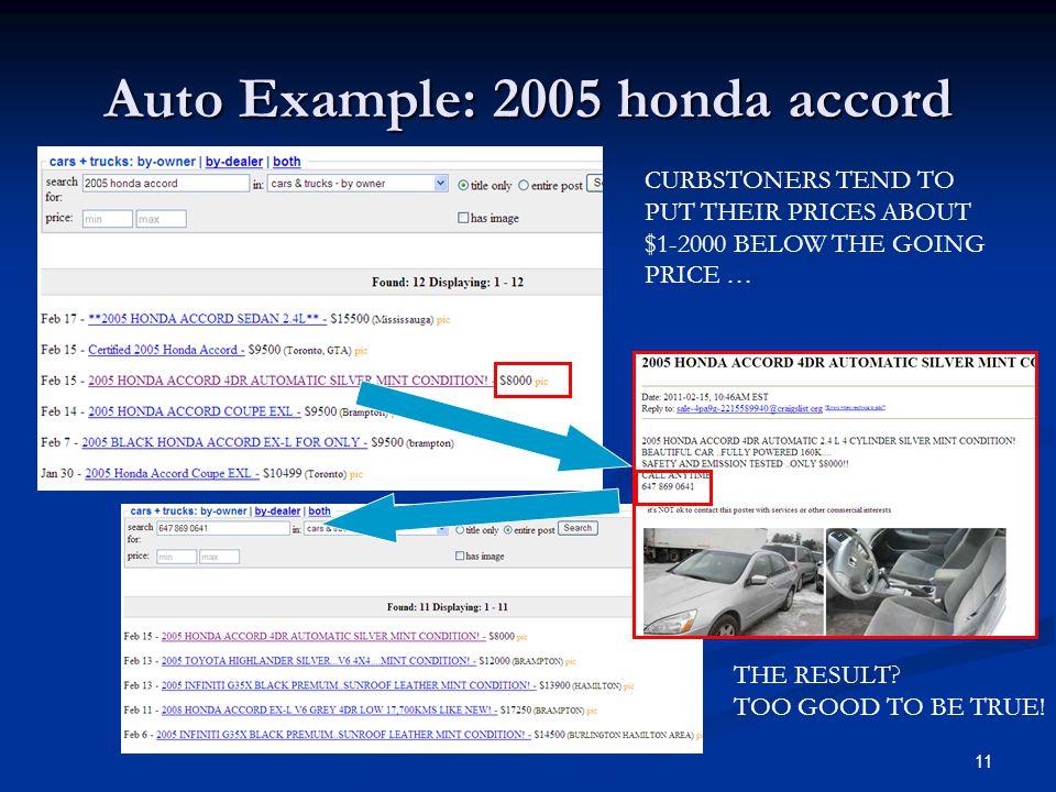 Auto Example: 2005 honda accord