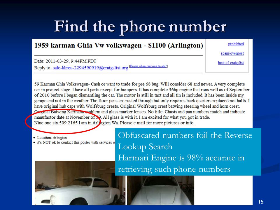 Find the phone number Obfuscated numbers foil the Reverse Lookup Search.