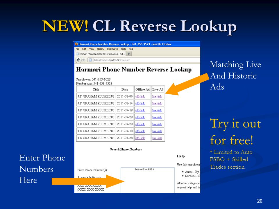 NEW! CL Reverse Lookup Try it out for free! Matching Live And Historic