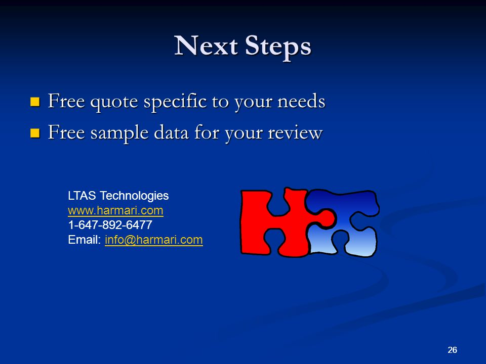 Next Steps Free quote specific to your needs
