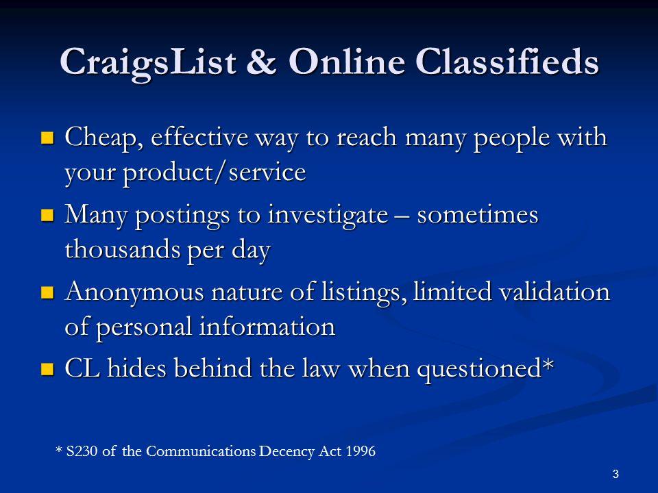 CraigsList & Online Classifieds
