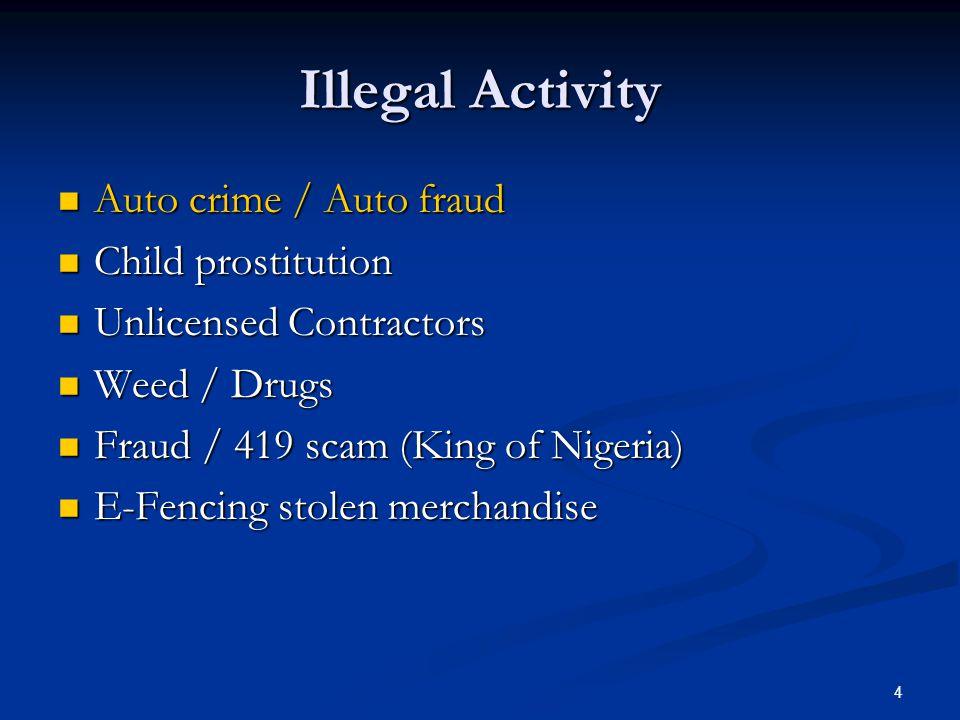 Illegal Activity Auto crime / Auto fraud Child prostitution