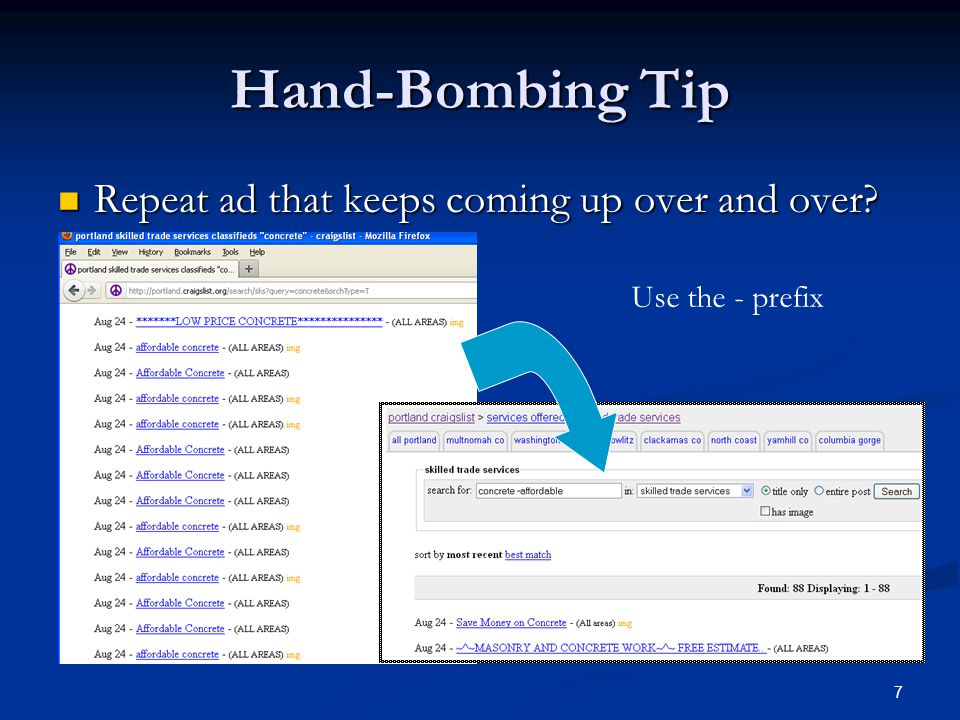 Hand-Bombing Tip Repeat ad that keeps coming up over and over