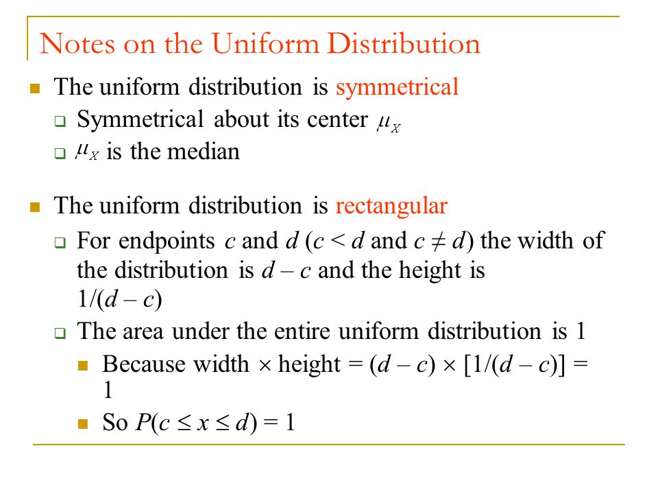 Notes on the Uniform Distribution