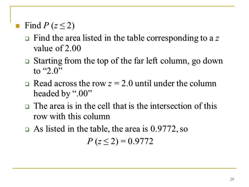 Find the area listed in the table corresponding to a z value of 2.00