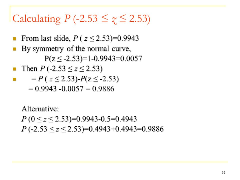 Calculating P (-2.53 ≤ z ≤ 2.53) From last slide, P ( z ≤ 2.53)=0.9943