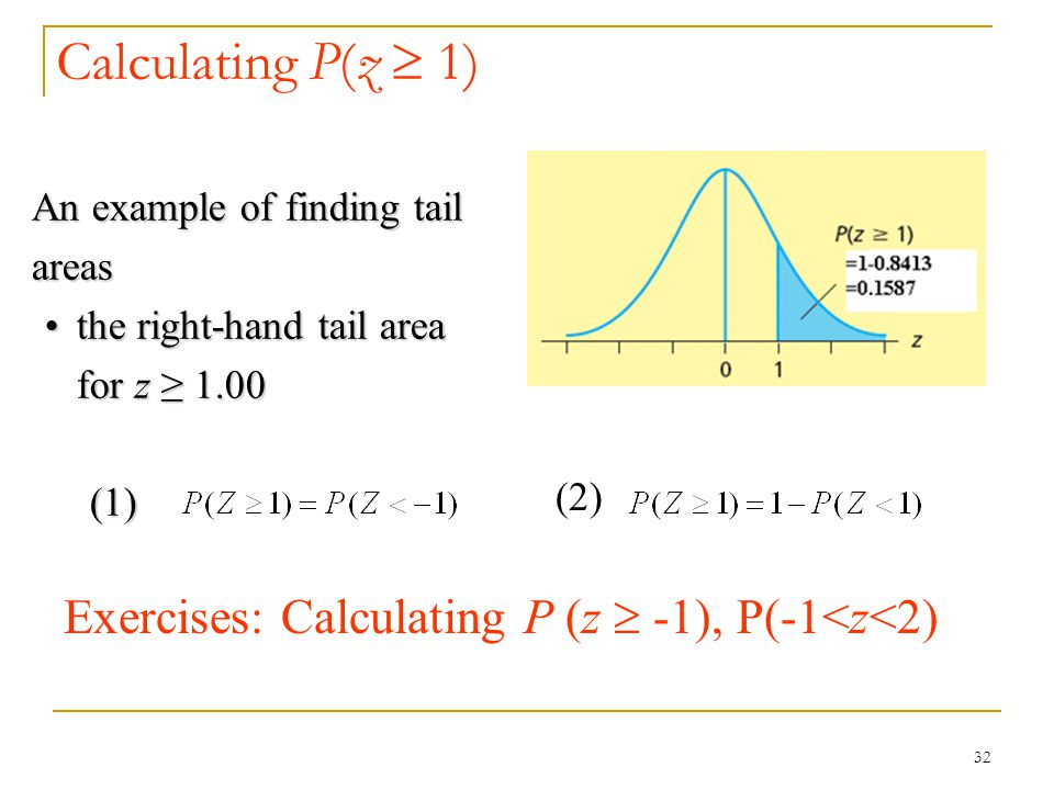 Calculating P(z  1) An example of finding tail areas. the right-hand tail area for z ≥ 1.00. (1)