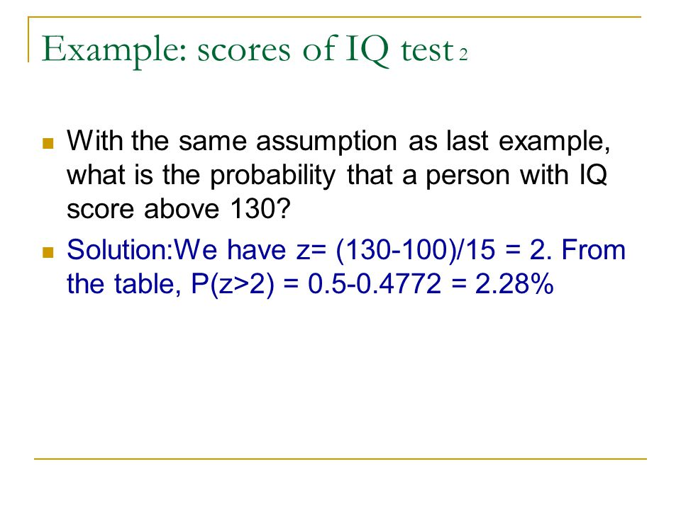 Example: scores of IQ test 2