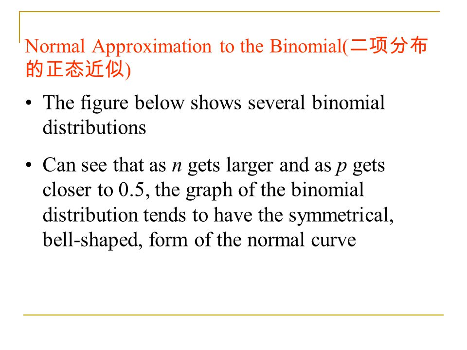 Normal Approximation to the Binomial(二项分布的正态近似)
