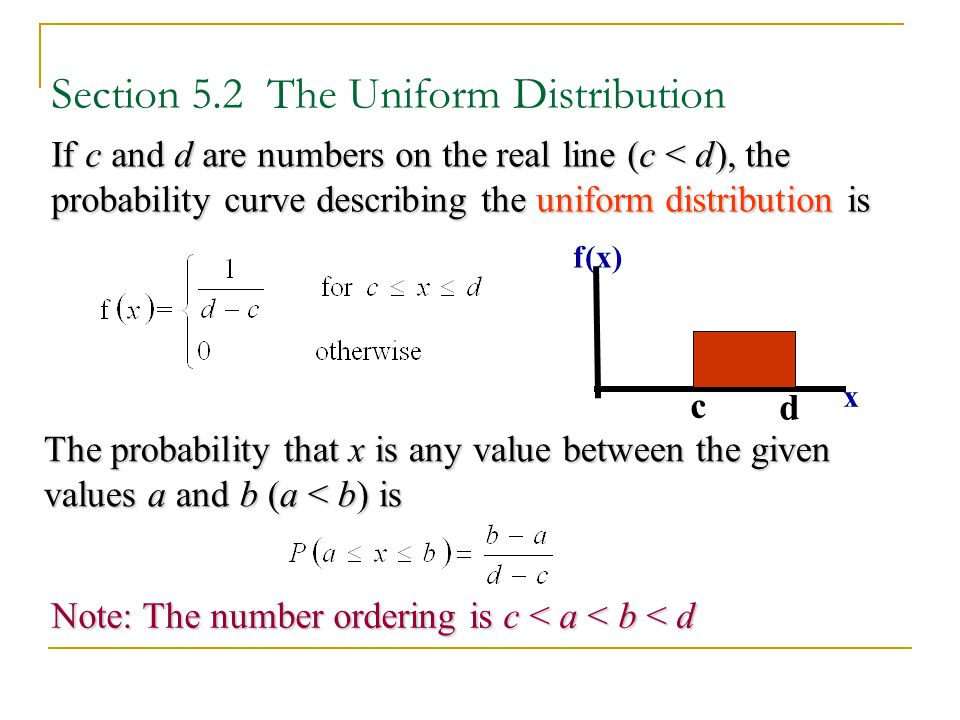 Section 5.2 The Uniform Distribution