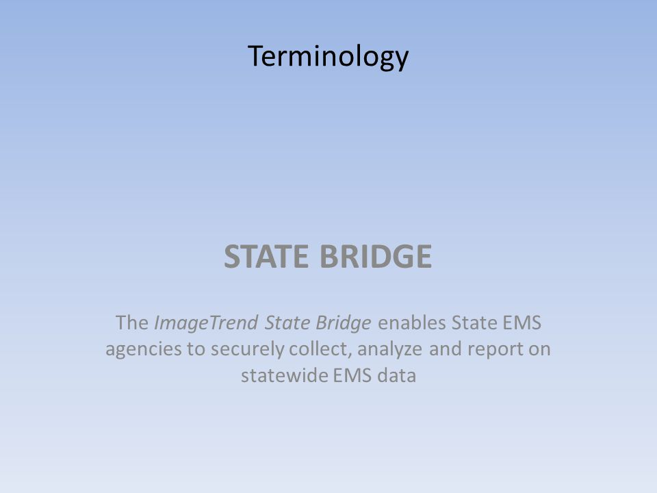 STATE BRIDGE Terminology