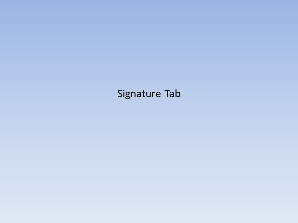 Signature Tab