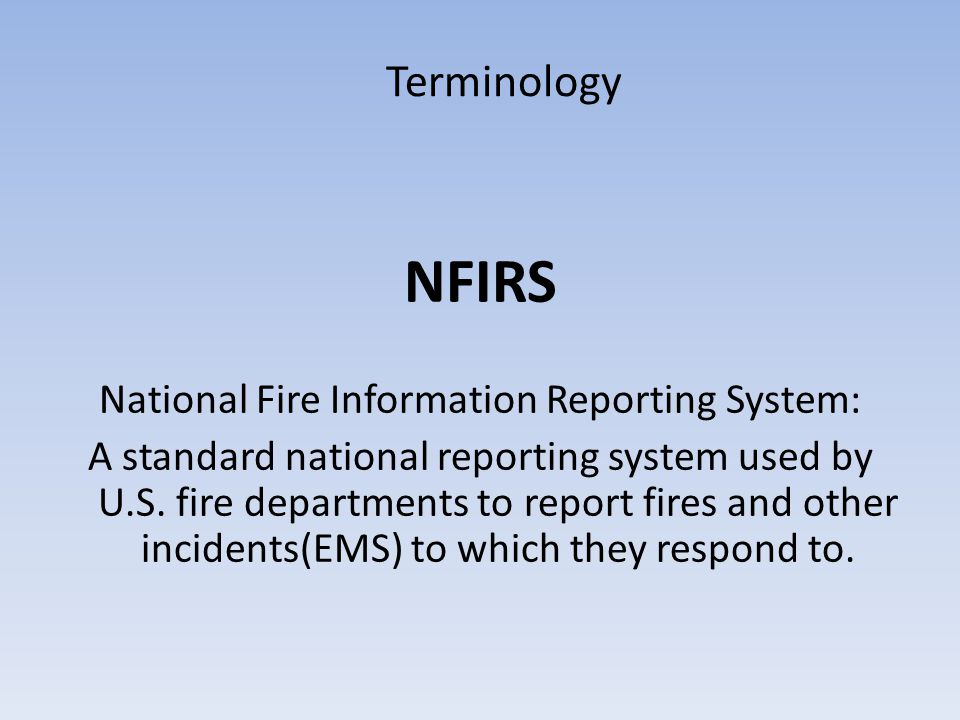 National Fire Information Reporting System:
