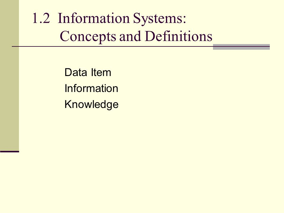 1.2 Information Systems: Concepts and Definitions