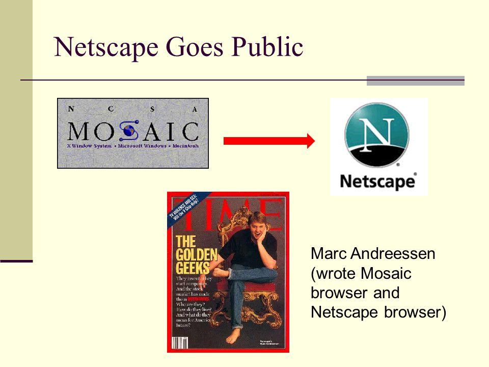 Netscape Goes Public Marc Andreessen (wrote Mosaic browser and Netscape browser)
