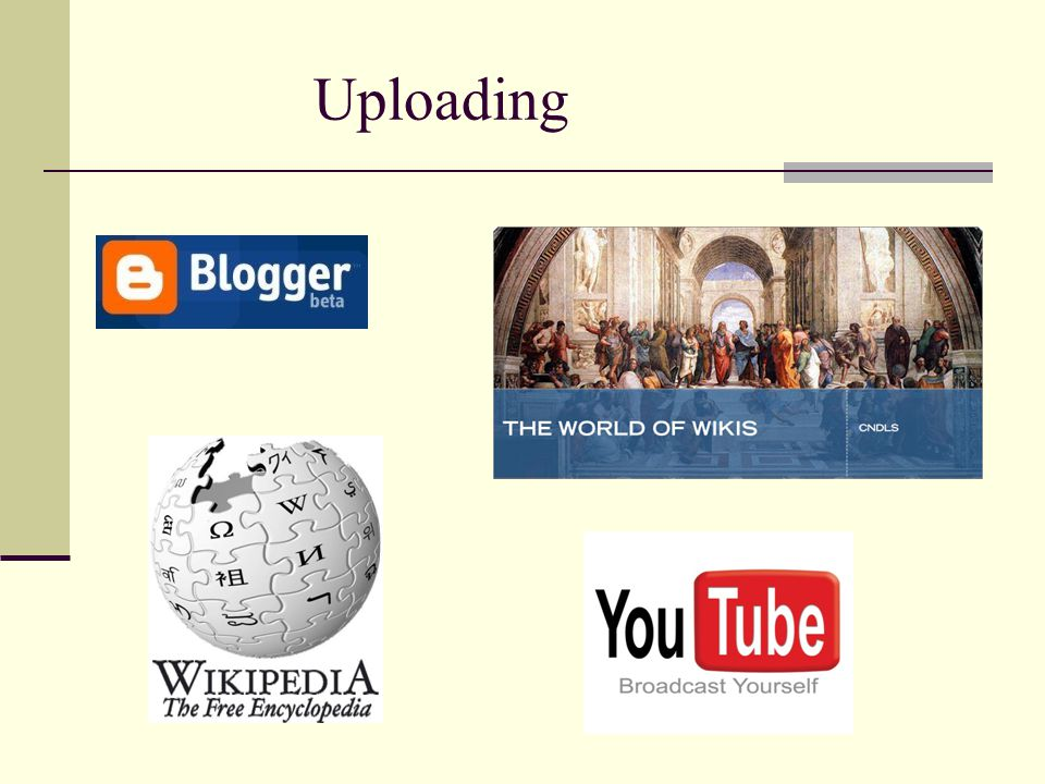 Uploading Clicking on the Blogger, Wikipedia, or YouTube logos on this slide will take you to.