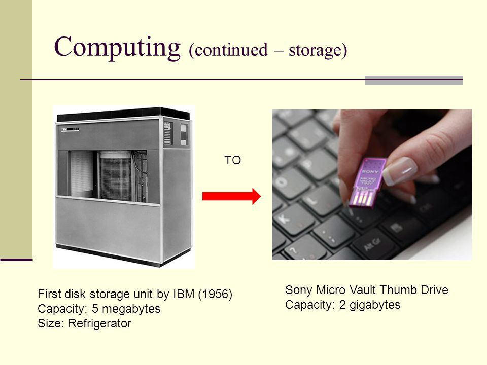 Computing (continued – storage)