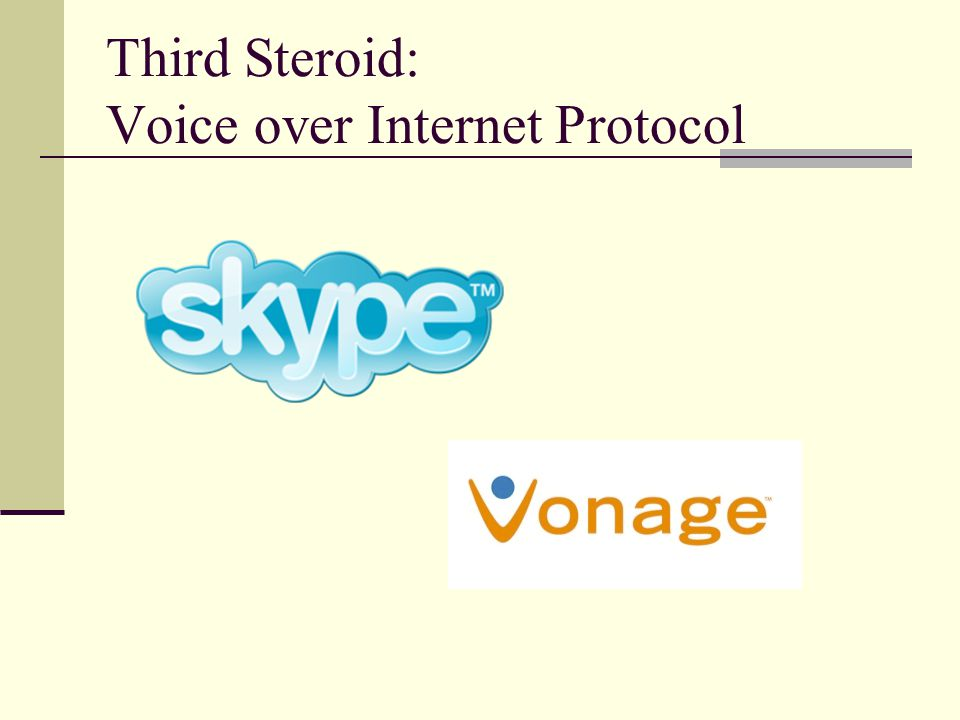 Third Steroid: Voice over Internet Protocol