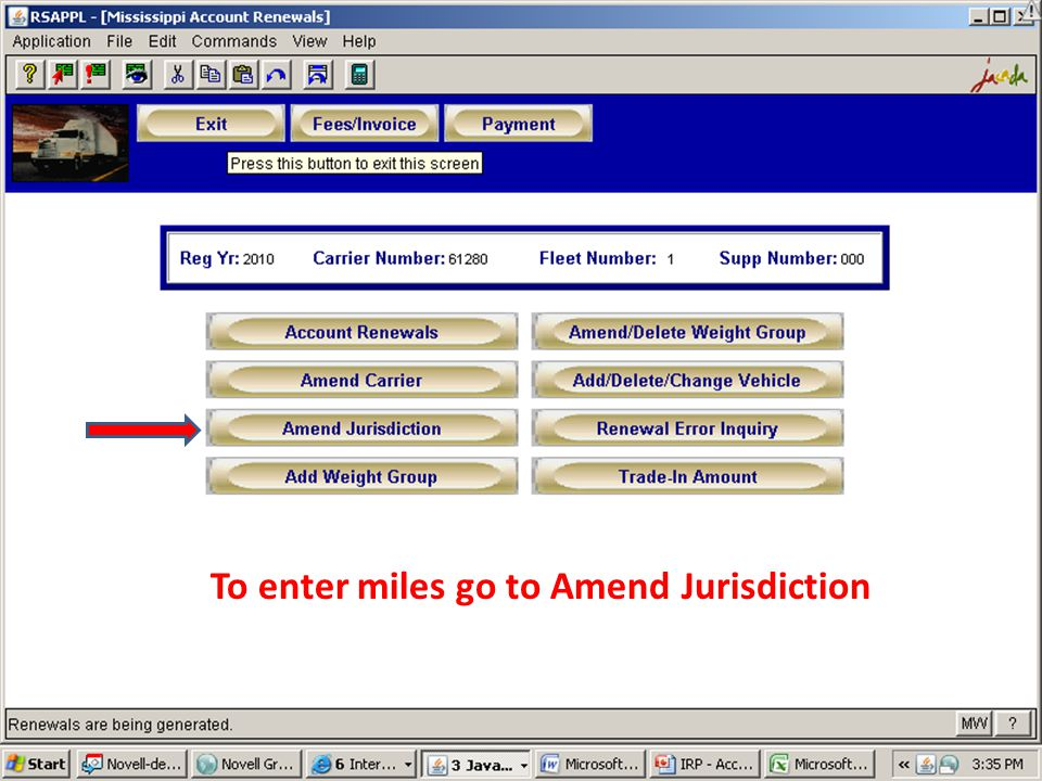 To enter miles go to Amend Jurisdiction