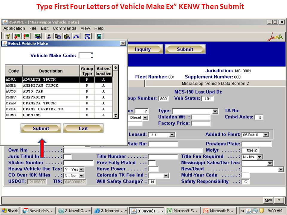 Type First Four Letters of Vehicle Make Ex KENW Then Submit