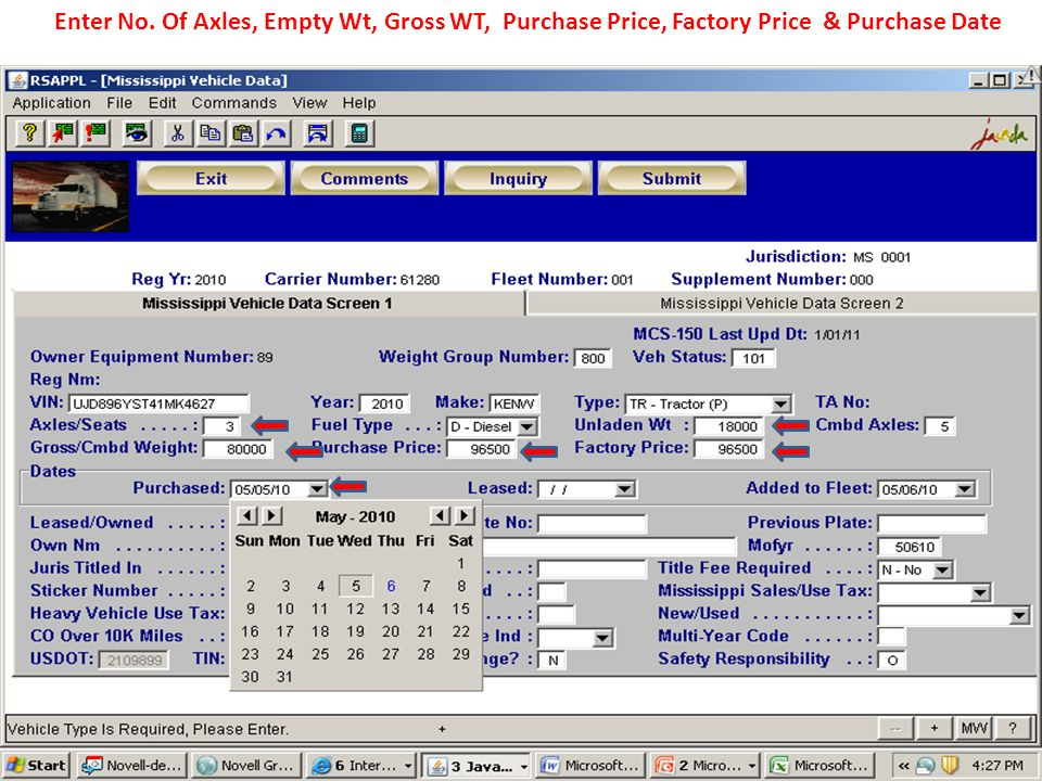 Enter No. Of Axles, Empty Wt, Gross WT, Purchase Price, Factory Price & Purchase Date