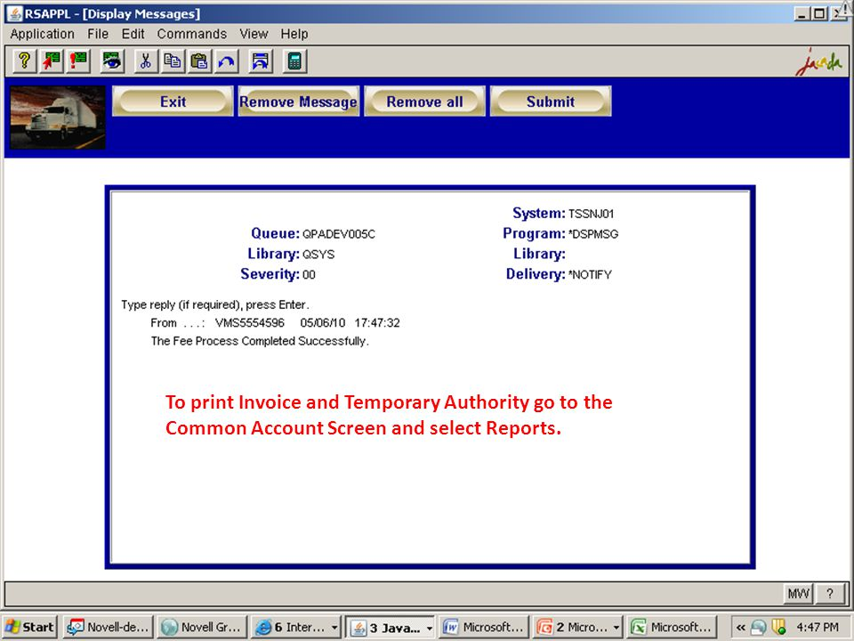 To print Invoice and Temporary Authority go to the