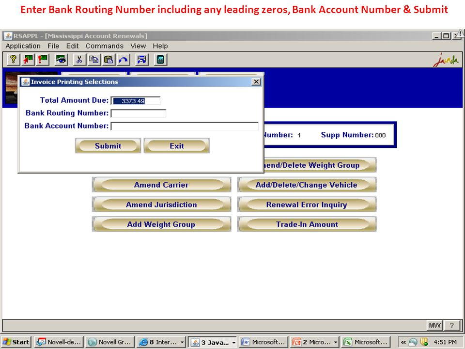 Enter Bank Routing Number including any leading zeros, Bank Account Number & Submit