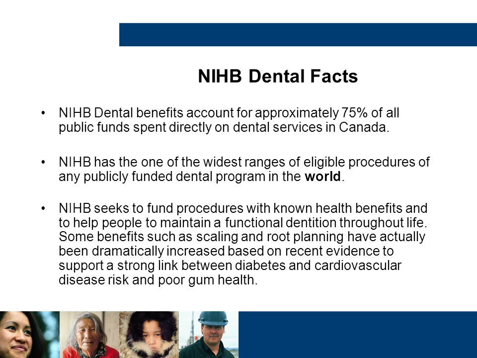 NIHB Dental Facts NIHB Dental benefits account for approximately 75% of all public funds spent directly on dental services in Canada.