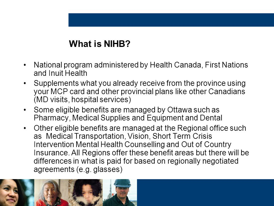 What is NIHB National program administered by Health Canada, First Nations and Inuit Health.
