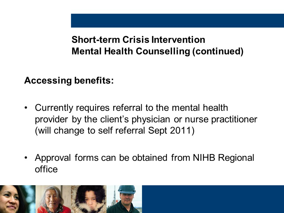 Short-term Crisis Intervention Mental Health Counselling (continued)